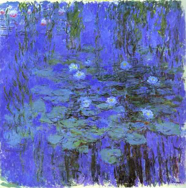famous painting Azul Flor de Lótus of Claude Monet