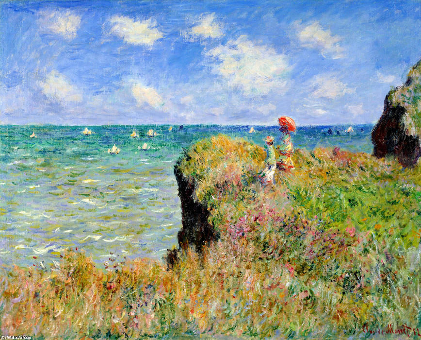 famous painting Caminhada de Clifftop em Pourville of Claude Monet