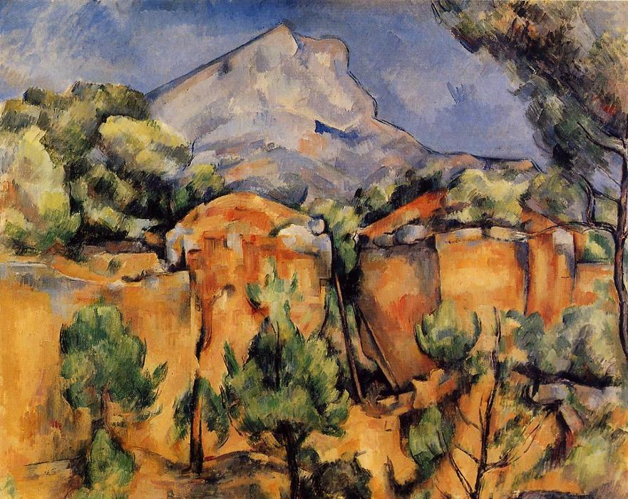 famous painting Mont Sainte-Victoire visto a partir do Bibemus Quarry of Paul Cezanne