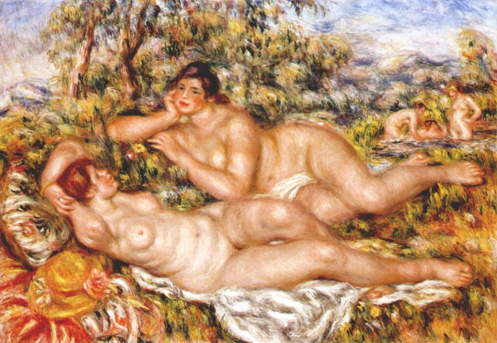 famous painting o grande banhistas o  Ninfas  of Pierre-Auguste Renoir