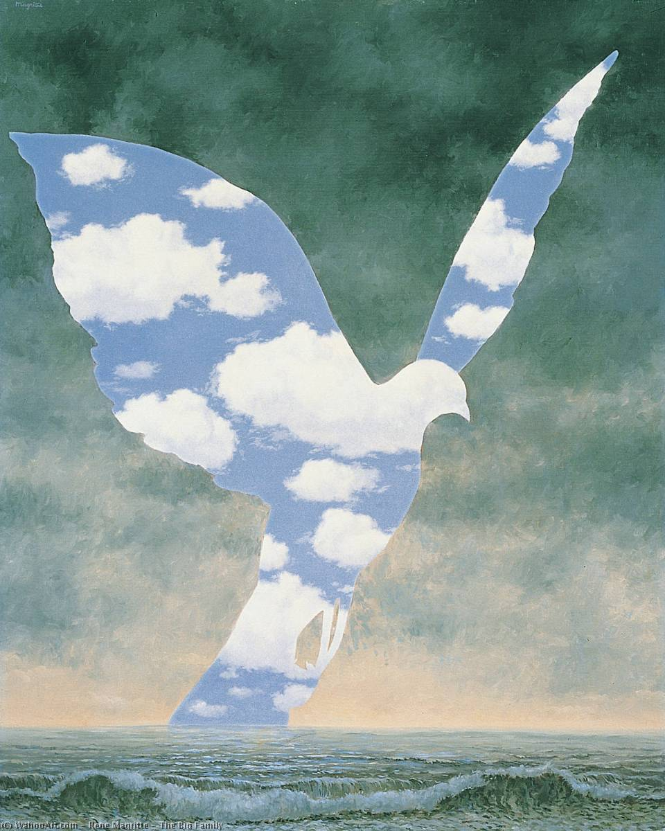 | o grande família por Rene Magritte | Most-Famous-Paintings.com