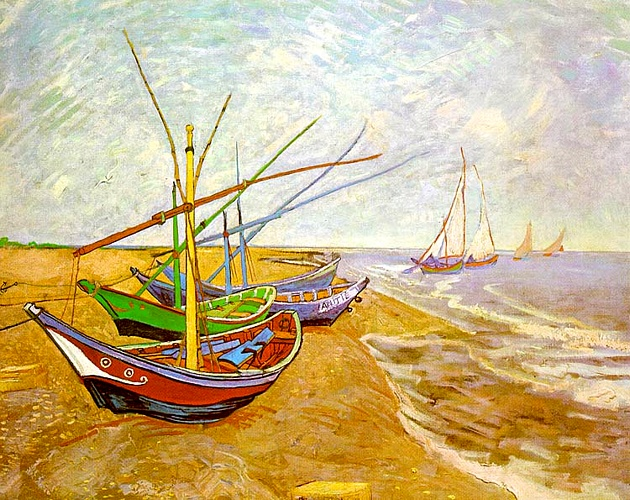 famous painting pescaria barcos na praia of Vincent Van Gogh