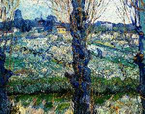 Vincent Van Gogh - Vista de Arles . orchard in bloom com poplars no forefront