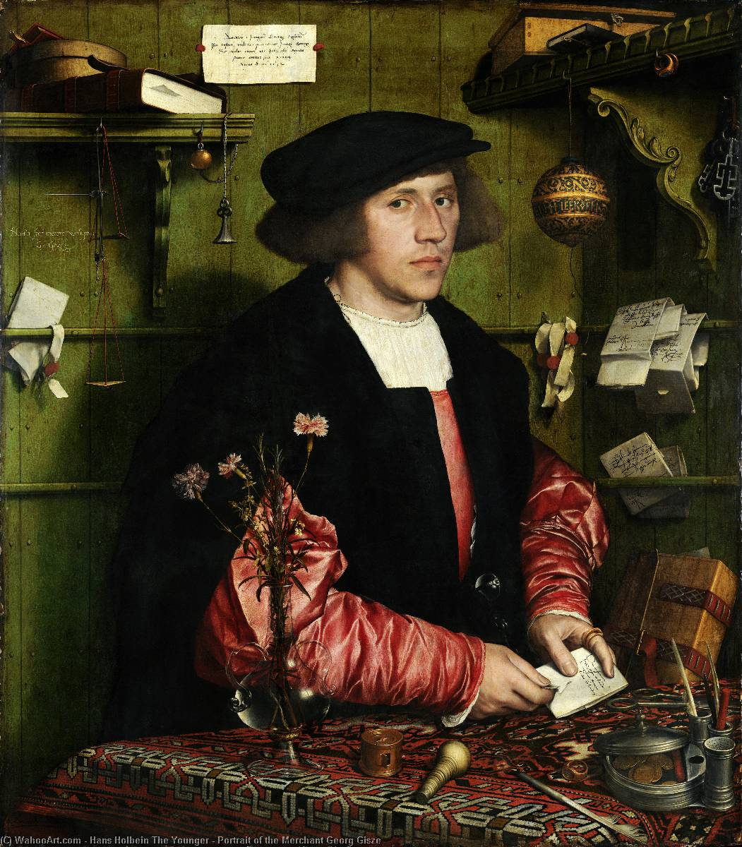 famous painting Retrato do comerciante de Georg Gisze of Hans Holbein The Younger