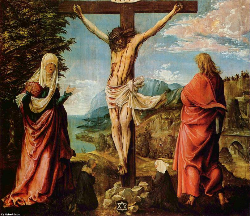 famous painting Crucifixion scene ,  Christ on a cruz with Mary e João of Albrecht Altdorfer