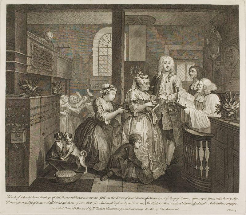 famous painting Plate cinco , de um Rake's Progress of William Hogarth
