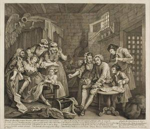 William Hogarth - Plate sete , de um Rake's Progress