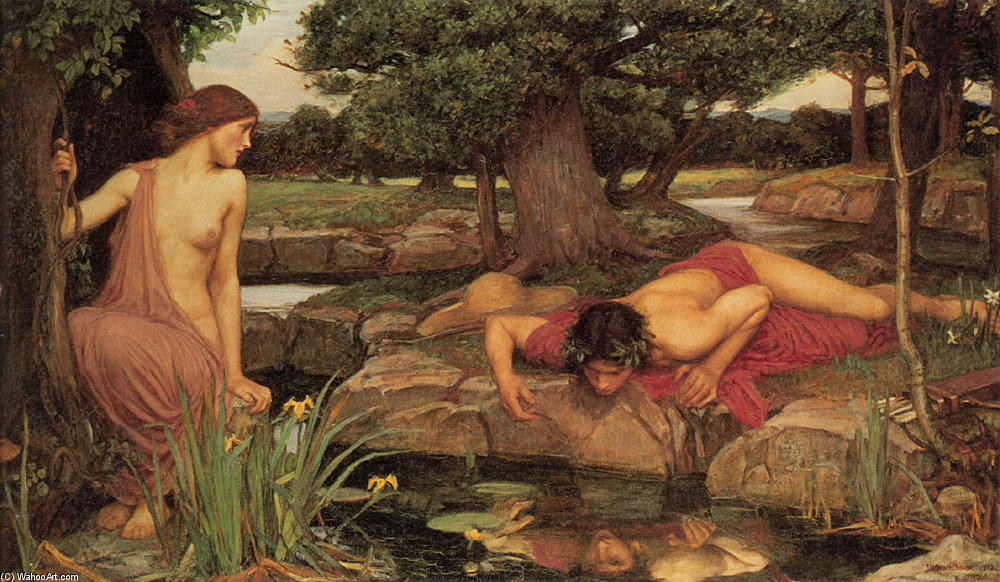 famous painting Eco e Narciso of John William Waterhouse
