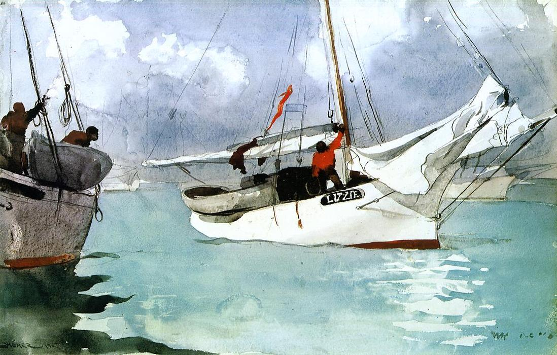 famous painting barcos de pesca Chave  Oeste  of Winslow Homer