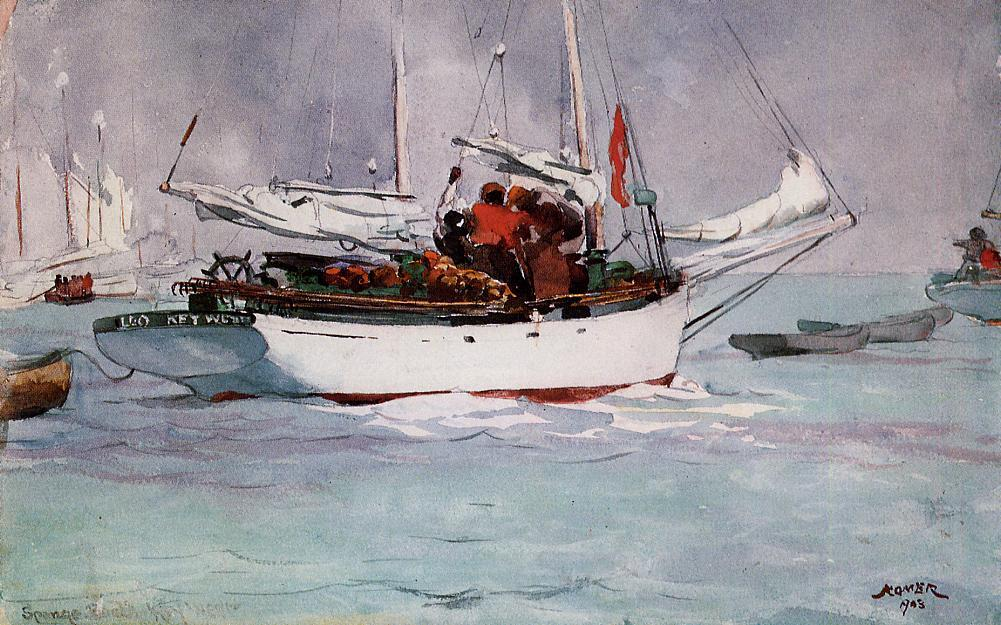 famous painting Esponja Barcos , Chave West of Winslow Homer