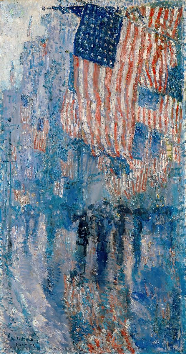 famous painting o avenida no chuva of Frederick Childe Hassam