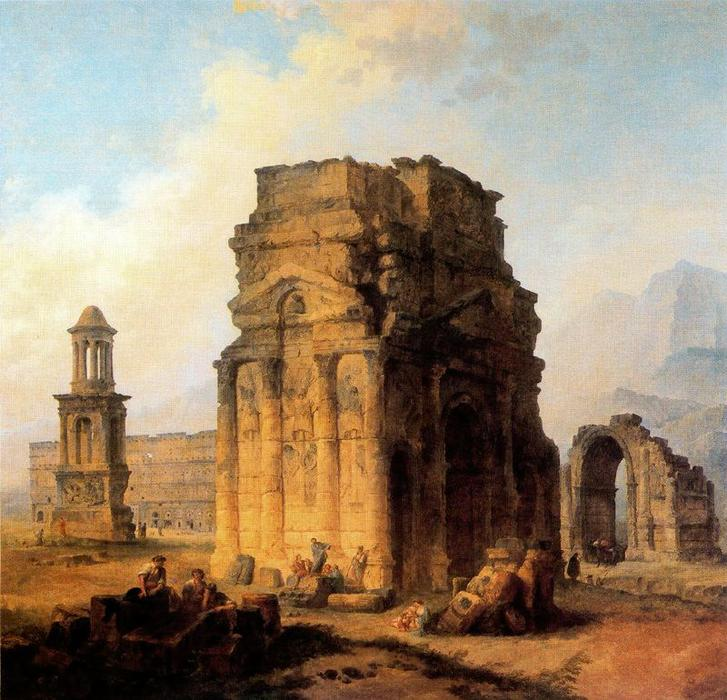 famous painting Arco do Triunfo e Amphitheater em Orange of Hubert Robert
