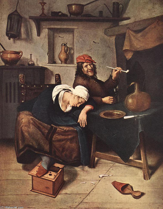 famous painting o bebedor of Jan Steen