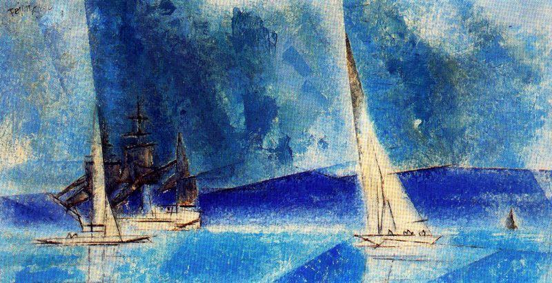 famous painting azul costa  of Lyonel Feininger