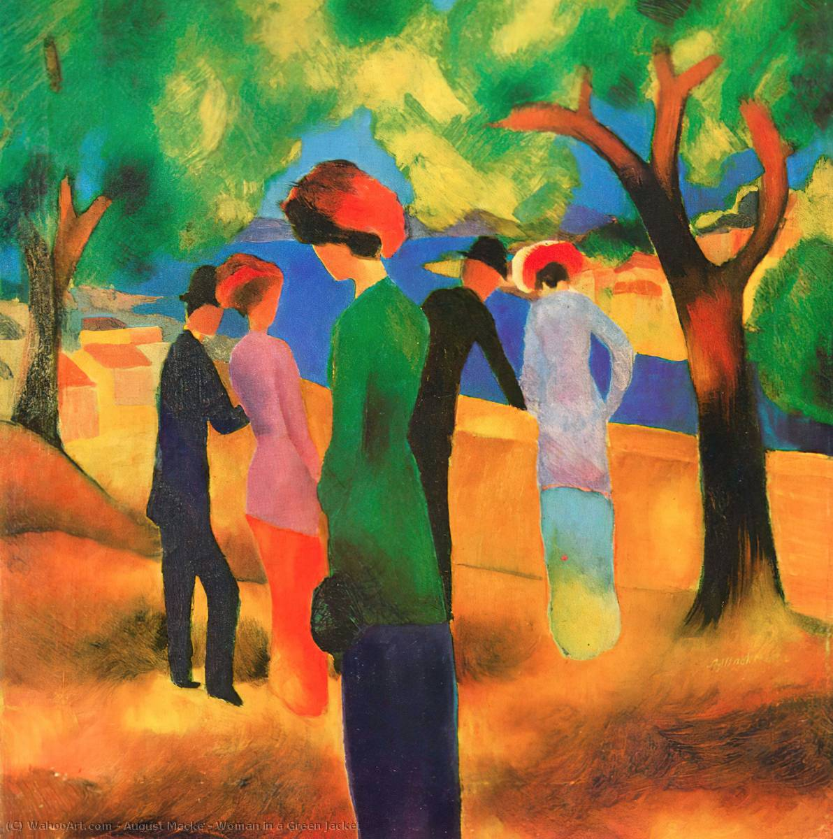 famous painting mulher em um Verde  casaco  of August Macke