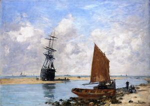 Eugène Louis Boudin - the trouville chanel , maré baixa