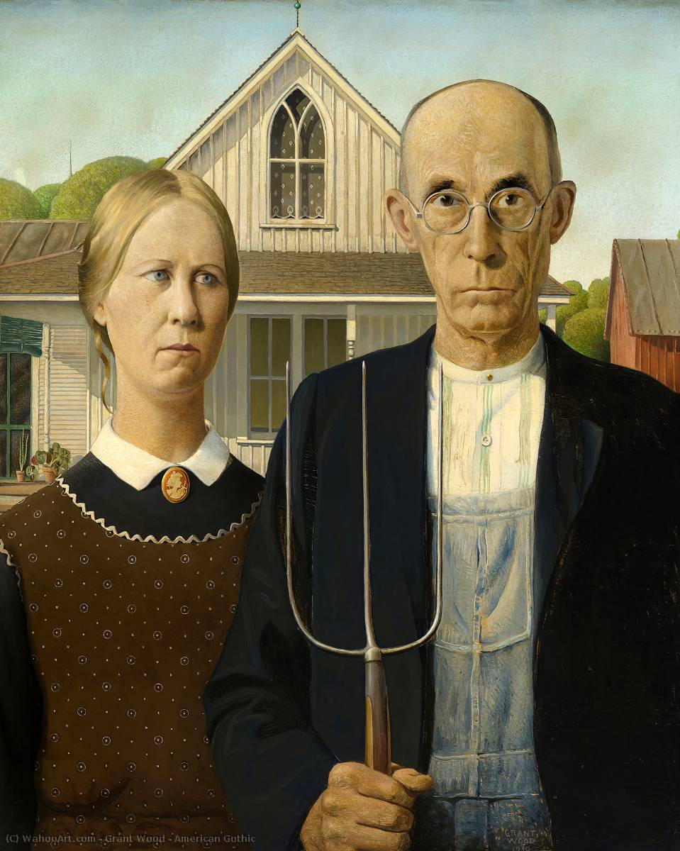 famous painting gótico americano of Grant Wood