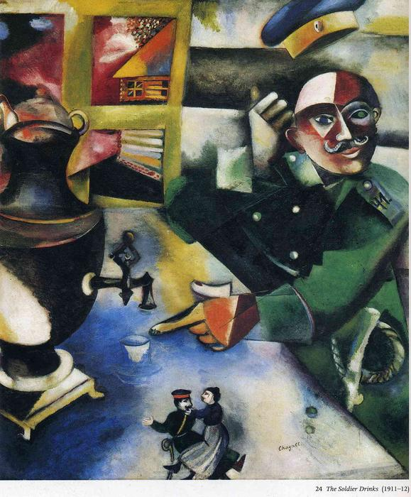 | O soldado Drinks por Marc Chagall | Most-Famous-Paintings.com