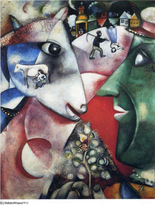 | i e o aldeia por Marc Chagall | Most-Famous-Paintings.com