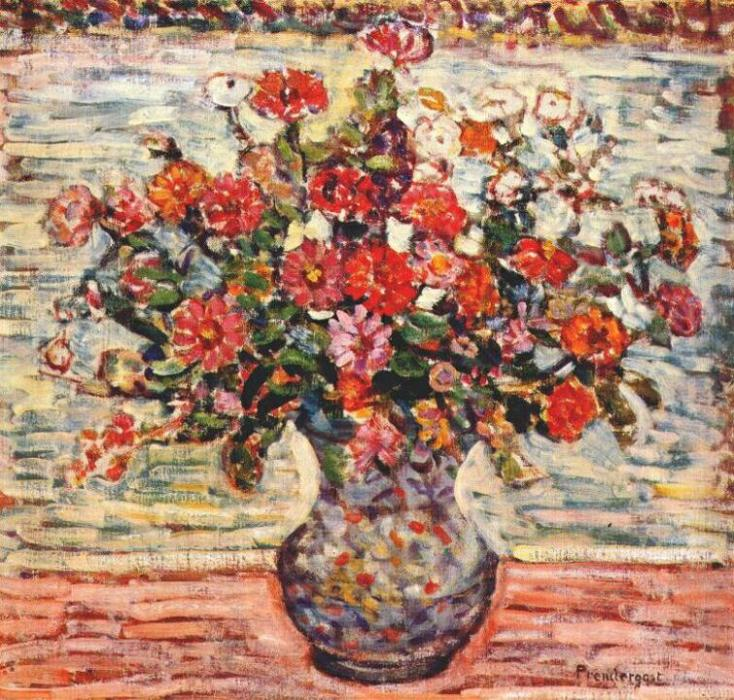 famous painting flores em a vaso of Maurice Brazil Prendergast