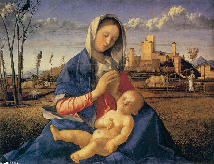 famous painting Madonna of the Meadow (Madonna del Prato) of Giovanni Bellini