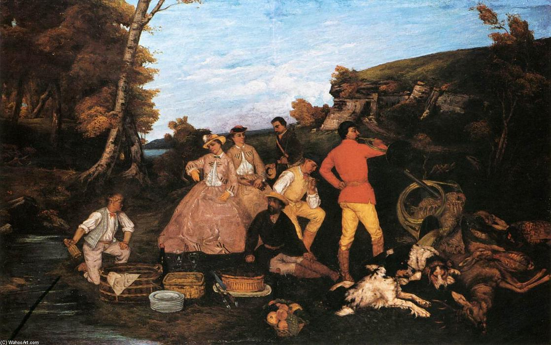 famous painting o caça pequeno almoço of Gustave Courbet