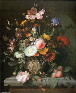 Jacob Van Walscapelle - flores dentro de pedra recipiente