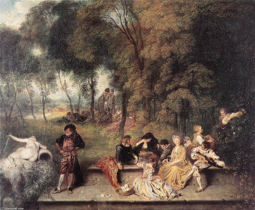 famous painting Companhia Feliz no Open Air of Jean Antoine Watteau