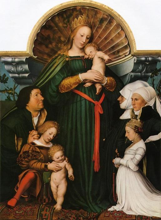 famous painting Meyer Madonna (também conhecido como Darmstadt Madonna) of Hans Holbein The Younger