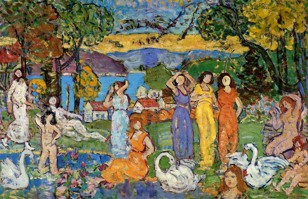 famous painting The Picnic of Maurice Brazil Prendergast