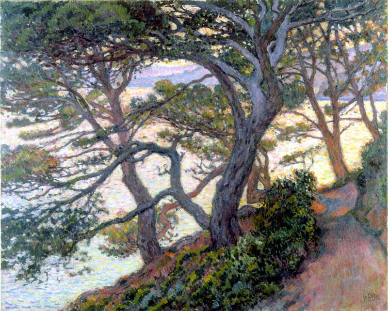 famous painting Pinheiros de rayol of Theo Van Rysselberghe