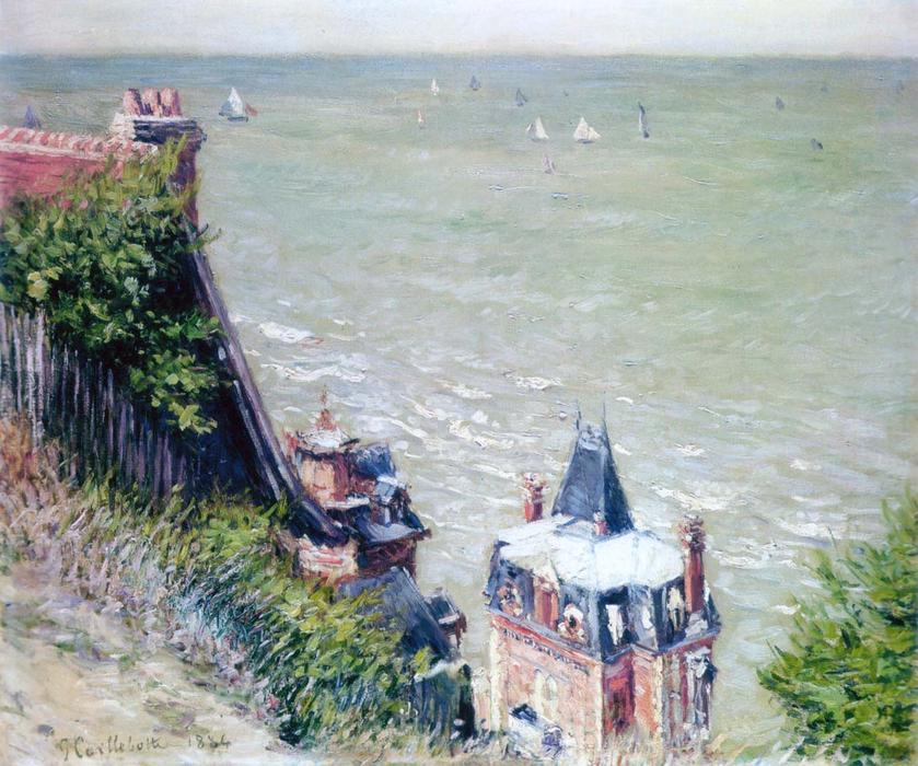 famous painting pink villas em trouville of Gustave Caillebotte