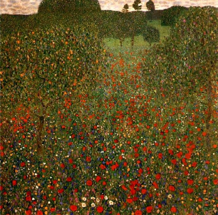 famous painting papoila campo of Gustav Klimt