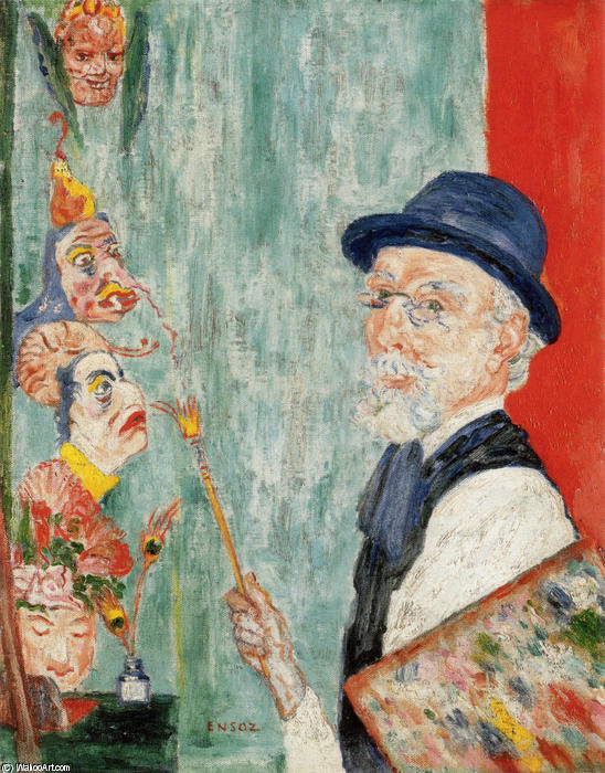 famous painting Self-Portrait com máscaras of James Ensor
