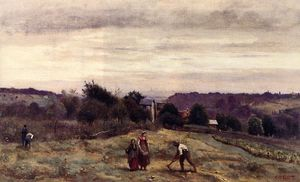 Jean Baptiste Camille Corot - Ville d Avray - as Heights: Camponeses trabalhando em um campo