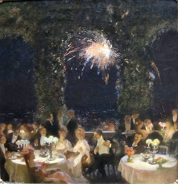 famous painting Jantar no Cassino , óleo sobre tela pintura de GASTON LA TOUCHE of Gaston De La Touche