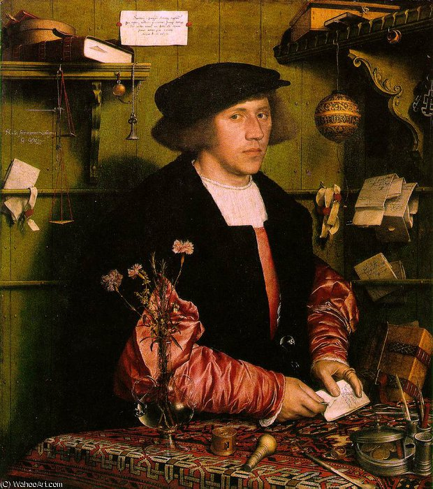 famous painting Georg gisze , uma mercante alemão em londres gemäld of Hans Holbein The Younger