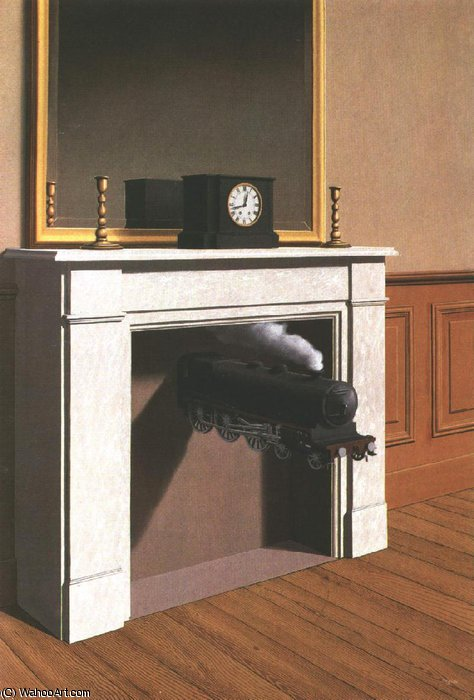 famous painting Tempo paralisado , 1938 , instituto de arte de chicago of Rene Magritte