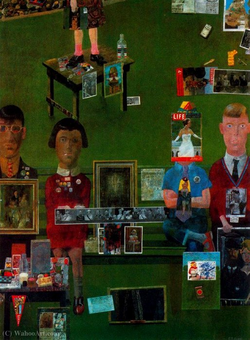 | Na varanda por Peter Blake | Most-Famous-Paintings.com