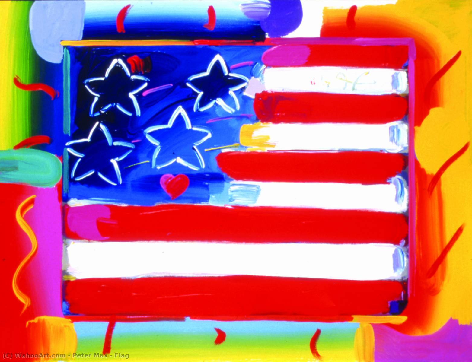 | bandeira por Peter Max | Most-Famous-Paintings.com