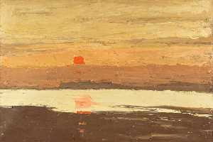 John Kyffin Williams - costeira pôr do sol