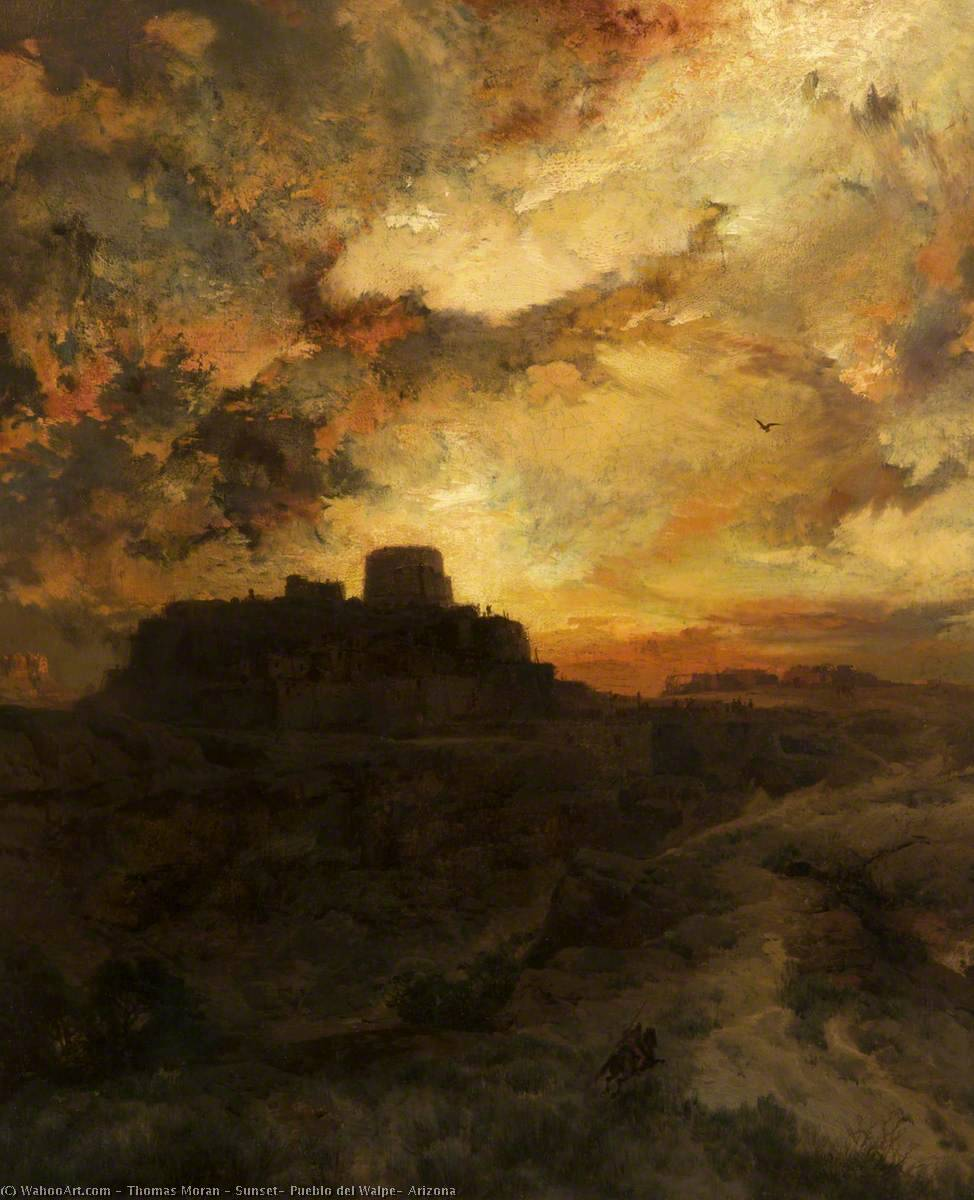 famous painting Sol , pueblo del walpe , Arizona of Thomas Moran