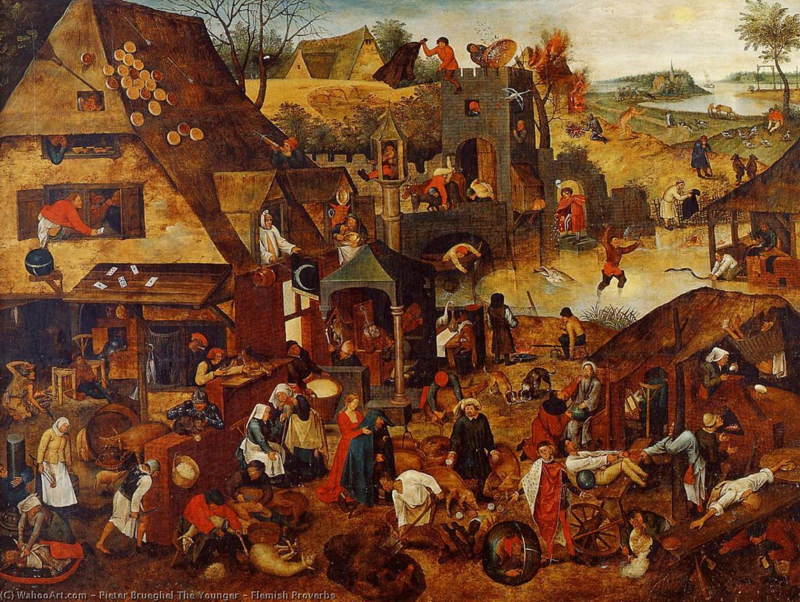 famous painting Flamengos Provérbios of Pieter Brueghel The Younger